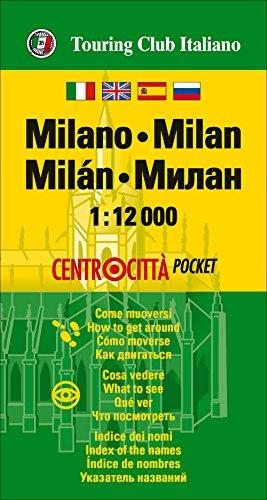 Milán, centrocitta. Plano callejero de bolsillo impermeable. Escala 1:12.000. Touring Club Italiano. (Centrocittà pocket)