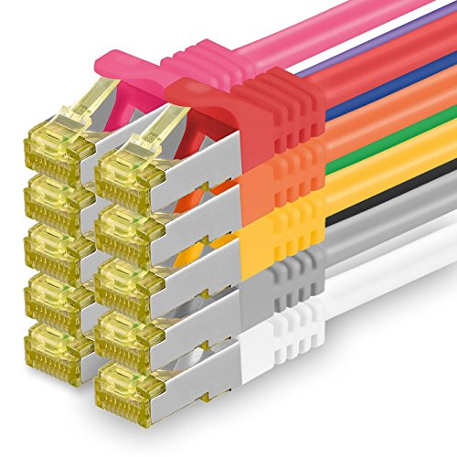 Cat.7 Netzwerkkabel 0,25m - 10-Farben - 10 Stück - Cat7 Ethernetkabel Netzwerk LAN Kabel Rohkabel 10 Gb/s (SFTP PIMF LSZH) Set Patchkabel mit Rj 45 Stecker Cat.6a