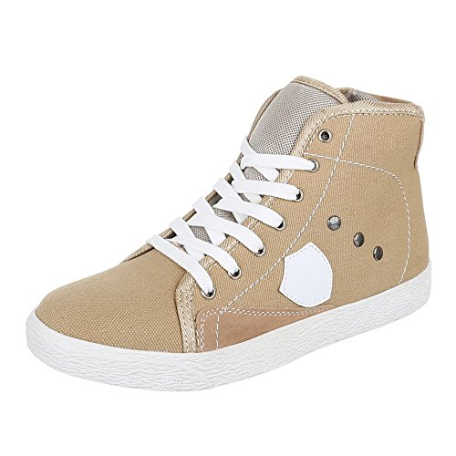 Kinder Schuhe, 12024, FREIZEITSCHUHE SPORTLICHE SNEAKERS Beige