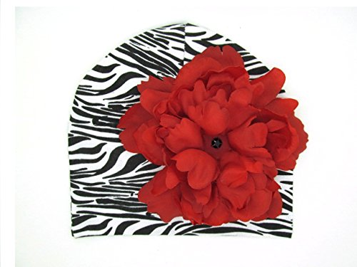 a Print Hat with Red Large Peony (Zebra Print Hüte)