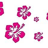 Wandtattoo Wandaufkleber Aufkleber Wandsticker wall sticker Wohnzimmer Schlafzimmer Kinderzimmer Blume Blumen Hibiskus Hibiscus Bl¨¹ten Hibiskusblumen schmetterlinge schmetterling Blume Blumen 2-1 St¨¹ck 28 motiv 30 Farben zu Wahl (054 tuerkis, set 2)