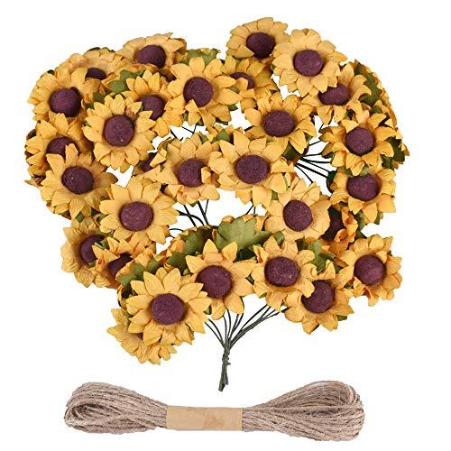 Gudotra 100pz bouquet girasoli finta giallo+10metri corda fiore fiorellini decorazione per bomboniere matrimonio scatole portaconfetti biglietti auguri compleanno battesimo