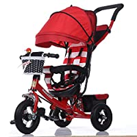 TH Children Kids Tricycle Stroller First Bike,4 In1 Foldable With Removable Push Handle Bar,Rubber Wheel,Awning, 2-6years,Red