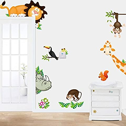 Kolylong Wall Stickers Home Decor Living Room Animal Nursery Zoo Tiger Chambre Enfants Stickers Muraux Accueil Papier Peint DéCoration Murale 90 * 30cm