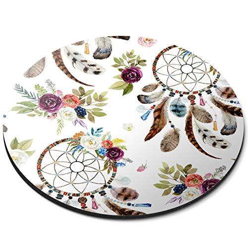 Alfombrilla de ratón Redonda - atrapasueños Tribal Pluma Boho Regalo de Oficina - RM12519
