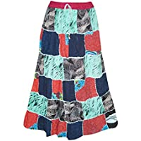 Mogul Interior Womens Patchwork Skirt Multi Blue Boho Hippie Gypsy Chic