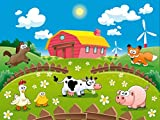 1art1 59462 Kinderwelten - Tiere Auf Dem Bauernhof, 4-Teilig Fototapete Poster-Tapete 360 x 255 cm
