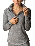 icyzone Damen Laufjacke Trainingsjacke 1/2 Zip Langarm Laufshirt im Winter (Athletic Grey, S)