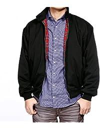 Manteau Jacket Harrington Bomber veste homme pardessus retro sweat blouson coat motard noir/bleu 4 taille