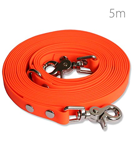 Schleppleine 5m Neon- Orange - zugfeste, schmutz- und wasserabweisende Hundeleine mit zwei Karabinern