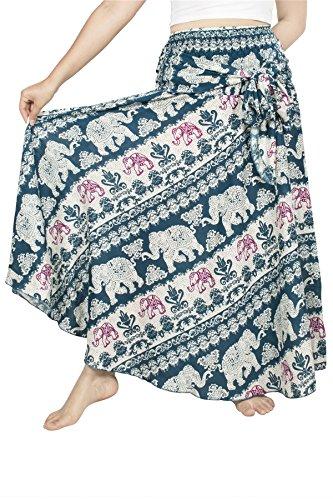 n Hüfte Langer Rock Süße Hippie Style Blumen - Elephant 21 Teal grün - 3XL (Blumen-mädchen-kleider Teal)