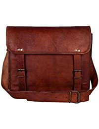 Pranjals House Leather Laptop Messenger Bag With Front Pocket Brown Size 15 X 11 X 4 Inches