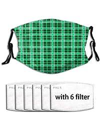 AQacum Pañuelo facial de tartán verde, ajustable, para decoración facial, transpirable, elegante bandanas para la cara, con 6 filtros para niños y niñas