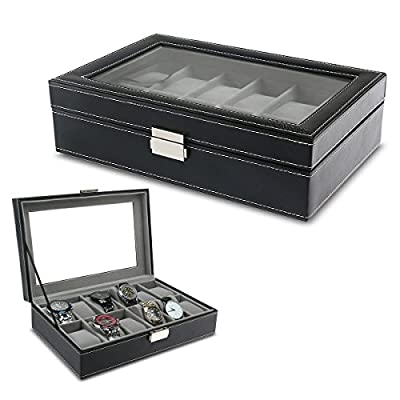 PIXNOR Watch Box - Elegant Storage For Up To 6/12 Wristwatches Jewellery Bracelet Collections