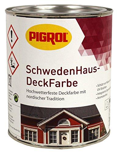 Pigrol Schwedenhaus-Deckfarbe, schwedenrot, 0,75L Wetterschutzfarbe Holzfarbe für aussen
