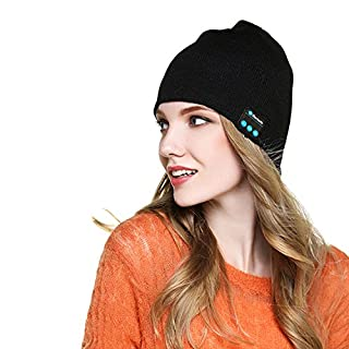 Almondcy Bluetooth Beanie Hat Wireless Knitted Music Hat Headphones Headset for Outdoor Sports Skiing Camping Hiking Black