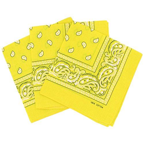 Set 3 bandanas paisley damen und herren gelb
