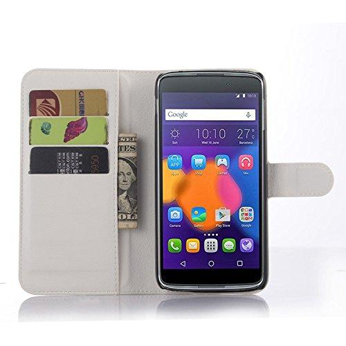 Tasche für Alcatel OneTouch Idol3 (5.5 zoll) Hülle, Ycloud PU Ledertasche Flip Cover Wallet Case Handyhülle mit Stand Function Credit Card Slots Bookstyle Purse Design weiß