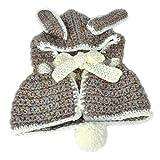 Belsen kinder Winter Baby Hasenohren strickmütze Nett Cap Umhang Lätzchen Schal (Grau)
