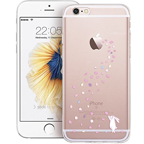 iPhone 7S Case / iPhone 8 Case, Walmark Soft Gel TPU Silicone Case Clear with Design Cute Cartoon Slim Fit Ultra Thin Protective Cover for 4.7 inches iPhone 7 /iPhone 8_Floral Bunny
