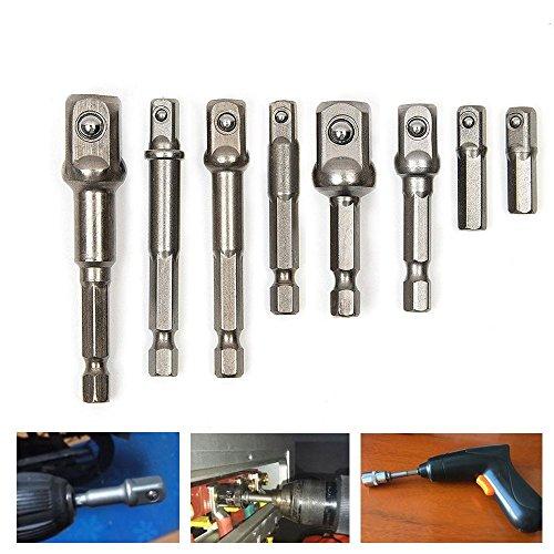 TILY 8 Sockel Nuss Treiber Adapter Set 1/10,2 cm 3/20,3 cm 1/5,1 cm Power Extension Bar Hex Shank Impact Treiber-Bohrer Bits