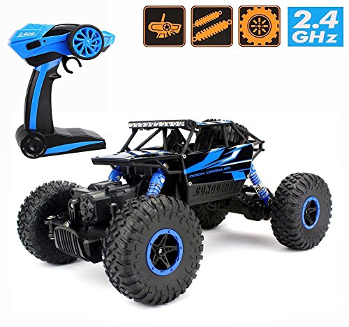 2.4Ghz 1/18 RC Electric Rock Crawler Vehicle Rechargeable Buggy Car 4 WD Shaft Drive High Speed Remote Control Monster Off Road Truck RTR(Blue)