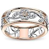 خاتم Zhx رائع للنساء من الفضة الاسترلينية 925 خاتم زهري هدية مقترحة من الألماس درجتي 18 قيراط من الذهب الوردي زهرة الكرمة خوا
