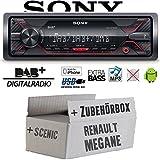 Renault Megane & Scenic 2 - Autoradio Radio Sony DSX-A310DAB - DAB+ | MP3/USB - Einbauzubehör - Einbauset