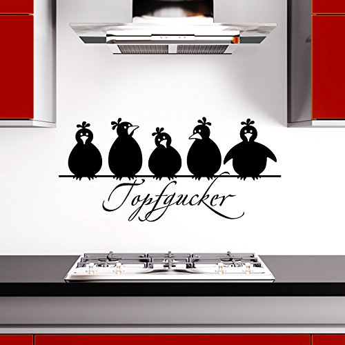 Preisvergleich Produktbild Grandora W862 Wandtattoo Spruch Topfgucker + 5 Vögel Küche schwarz 30 x 14 cm