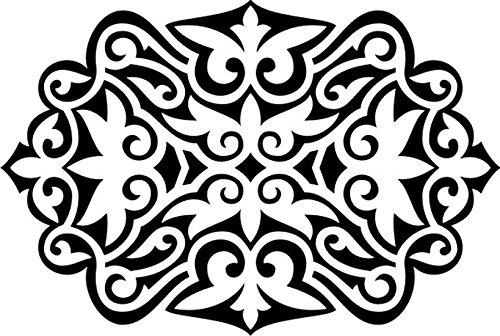 T-Shirt E1111 Schönes T-Shirt mit farbigem Brustaufdruck - Logo / Grafik / Design - abstraktes Ornament mit schönen Ranken und Blättern Weiß