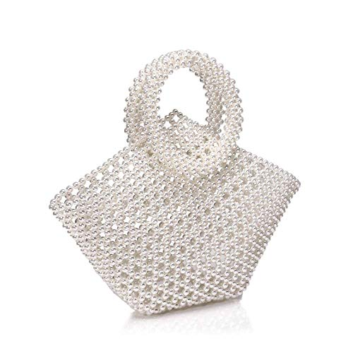 YuLinStyle Europe And The United States White Pearl Soft Bread Bag Female Slung Woven Bag Net Red Handmade Bag Wild Portable Stereo Bag 30 * 34 * 7cm Fashion handbag clutch bags for women