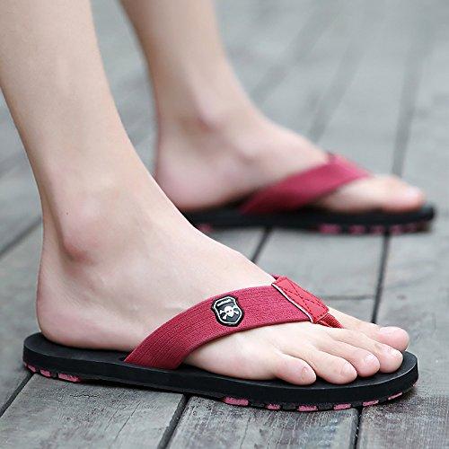 flip flops hommes, orteils, pantoufles talon plat, chaussures de plage, antidérapage fond souple, étanche à l'eau et une vadrouille fraîche Red