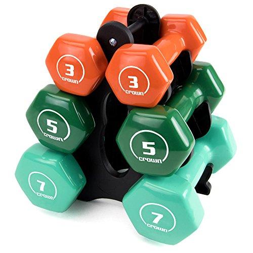 Set von 3Paar brightbells Vinyl Hex Hand Gewichte: bunt, tropischen beschichtet rutschfeste Hantel frei Gewicht Sets-Home & Studio Equipment, Strength - 3, 5, 7 lbs. (Cap Hantel Gewicht Set)