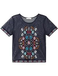 Promod Netz-T-Shirt mit Stickerei