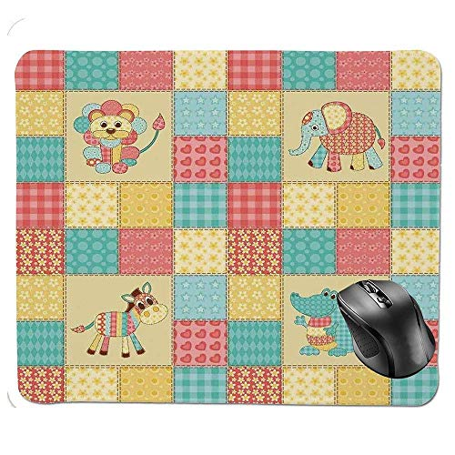 J5E7JYTE Gaming Mouse Pad,African Safari Animals Vintage Patchwork Reptile Crocodile Elephant Lion Zebra Hearts Flowers Print Mouse Pad -