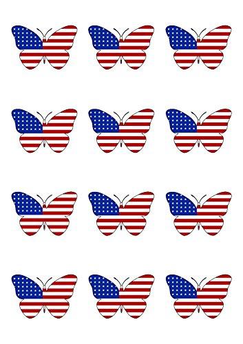 12Butterfly USA American Stars & Stripes Flagge Essbar Wafer Papier Kuchen Topper Dekorationen -
