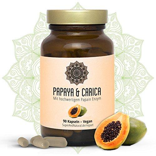 Papain Kapseln I Vegan I Papaya & Carica I Hochwertiges Papaya Extrakt I 90 Stück I Superfood I Natürliche Verdauung Und Ein Starkes Immunsystem I By Super & Natural (Super Papaya)