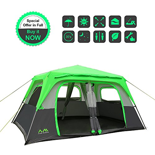 Arctic Monsoon 8 Person 2 Room Instant Tent Starry I1, 158*108*78 Inch, Easily Set Up in 30s, Green&Grey