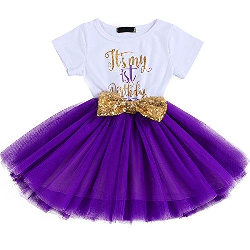 FYMNSI Baby Säugling Mädchen Es ist Mein 1. / 2. Geburtstag Party Kleid Outfit Kurzarm Tütü Tüll Prinzessin Geburtstagskleid mit Pailletten Schleife Stirnband Fotoshooting Babykleidung Set 9