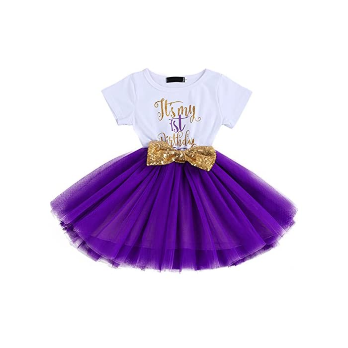 FYMNSI Baby Säugling Mädchen Es ist Mein 1. / 2. Geburtstag Party Kleid Outfit Kurzarm Tütü Tüll Prinzessin…