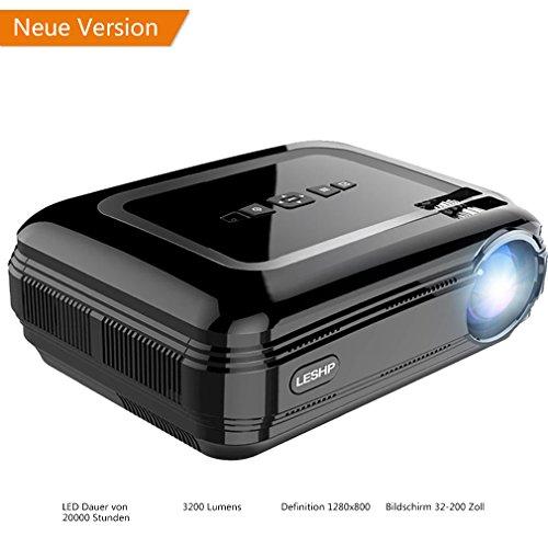 Vidéoprojecteur LESHP Projecteur Multimédia avec HDMI & AV Câble Full HD 1080P LCD 1280 x 1920 720P Support TV, Smartphone, PC, USB, VGA, SD (Noir)