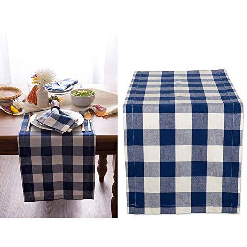 (Yongmao Tischläufer, kariert, trendiges und modernes Karo-Design, 100% Baumwolle, Elegante Tischdecke für drinnen und draußen, Baumwolle, blau, 30×180cm)