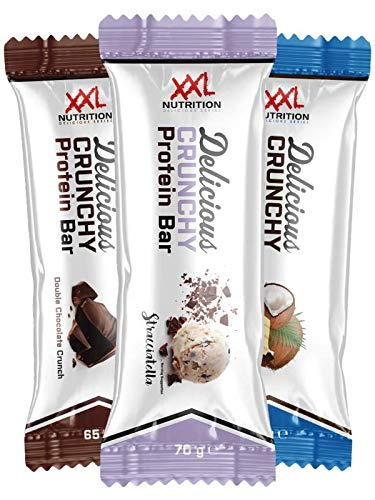 XXL Nutrition Delicious Crunchy Protein Bar   Geschmackserlebnis Proteinreigel Mit 20g Eiweiß   12 Stück   White Chocolate Pistachio - Extreme Xxl Schokolade