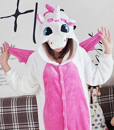 Aivtalk Flanell Unisex Erwachsenen Tiere Kostüme Pyjamas Fastnachtskostüm Jumpsuit Cosplay Hausanzug Party Sleepsuit Schlafanzug Einhorn