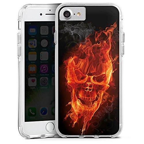 Apple iPhone X Bumper Hülle Bumper Case Glitzer Hülle Skull Totenkopf Feuer Bumper Case transparent
