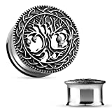 Piercingfaktor Ohr Plug Flesh Tunnel Piercing Schmuck Vintage Antik Baum des Lebens mit Kristall Silber 8mm