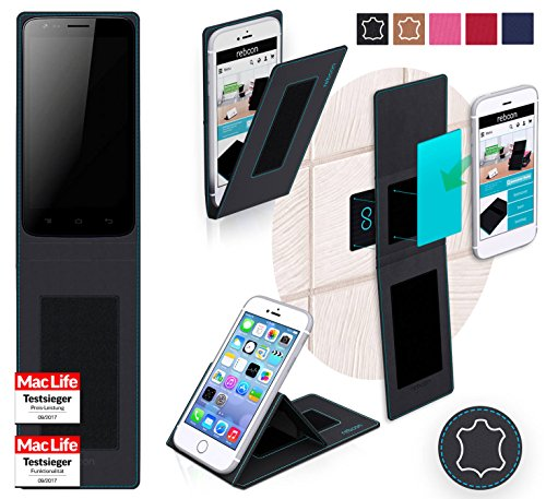Cover for Videocon Z51Q Star Case | in Black Leather | Multifunctional  Cover Bumper