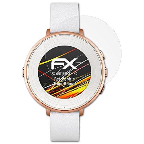 atFoliX Schutzfolie kompatibel mit Pebble Time Ro& Bildschirmschutzfolie, HD-Entspiegelung FX Folie (3X)