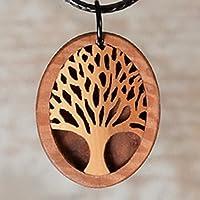 Holzschmuck Baum. Lebensbaum Baum des Lebens aus Eibe. Laubsägearbeit. Choker in den natürlichen Farben von Edelholz. Wanderlust