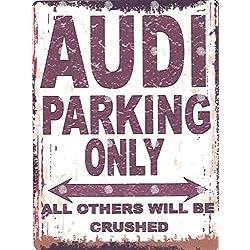 20,3x 25,4cm Audi Parking Schild retro vintage Stil 20,3x 25,4cm 20x 25cm Auto Schuppen Dose Garage Werkstatt Art Wand